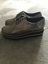 BNWT M&S WEDGE LEATHER LACE-UP METALLIC LOAFERS Sz 4 - RRP £55 BLOGGER FAV!!