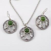 Sterling Silver Green Jade Modernist  Earring Necklace Set LFB4