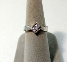 STERLING SILVER .925 2 STONE PRINCESS CUT SQUARE CZ  RING ~ SIZE 7 1/2 ~ NEW