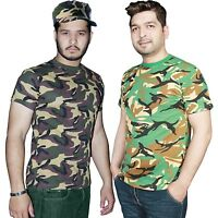 MENS MILITARY COMBAT CAMOUFLAGE ARMY CAMOU PRINT CASUAL T-SHIRT PLUS SIZE S- 2XL
