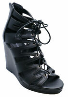 WOMENS BLACK LACE-UP SUMMER STRAPPY WEDGES SANDALS OPEN-TOE SHOES SIZES 3-8