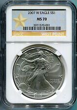 2007-W  burnished  SILVER EAGLE - NGC MS70 - buy it now - WEST POINT LABEL