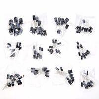 120pcs 12 Values 1uF-470uF Electrolytic Capacitors Assorted Kit Assortment Set T