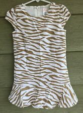 Gymboree Right Meow Girls 5 Tan Tiger Striped Brushed Fabric DRESS