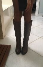 Lucky Brand Elena Taupe Gray Leather Boots 9 Heels Tall