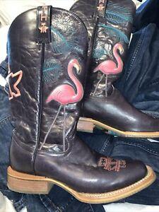 Tin Haul Women's Black Cowgirl Boots Flamingo Trailer Hood 9