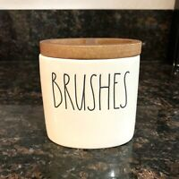 Rae Dunn BRUSHES Toothbrush Holder Wood Wooden LL Artisan Collection By Magenta