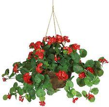 Artificial Geranium Hanging Basket Fake Natural Flower Red Pot Decor In Outdoor