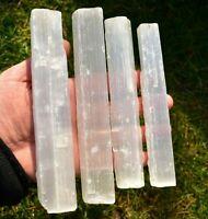 4 Selenite Raw Stick Wands 16cm Make Your Own Grid!, Quartz-Crystal Wand Healing