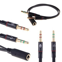 3.5mm Female Stereo Audio to 2 male Headset Mic Y Splitter PC Cable Adapter Cord