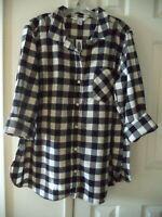 Must! Old Navy Black & Off White Check Plaid Cotton Flannel Shirt XXL 2X 3X 4X