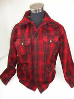 Vintage Mens 42 Woolrich Wool Coat Hunting Jacket Buffalo Red Black Plaid Check