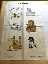 "Vtg Italian 21x31"" 100% Linen Towel Hand Stamped Beer Theme~ Great Bar Decor"