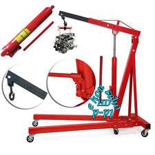 2 Ton Adjustable Hydraulic Folding Engine Crane / Hoist Lift Stand Jack Wheels