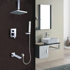 "Concealed Square Bathtub Faucet with 8""Rain Shower Mixer Faucet Brass Chrome Tap"