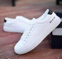 Fashion Men Casual Flat PU Leather Lace Up Sneakers Sports Athletic Shoes White