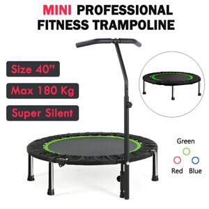 "40"" Mini Fitness Trampoline Gym Rebounder Handrail Jogger Home Cardio Exercise"