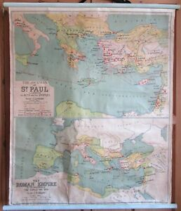 Large Wall Map. The Journeys Of Saint Paul & The Roman Empire