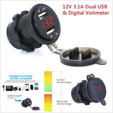Motorcycle 12V 3.1A Dual USB Charger Socket w/ Red LED Digital Voltage Voltmeter