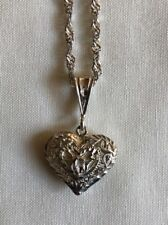 """Sterling Silver """"925"""" Heart with etch design Necklace"""