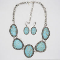 Premier Designs jewelry matte silver tone BOHO CHIC turquoise necklace earrings
