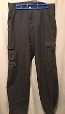 HURLEY Cargo Pants Mens 33 Polyester Leg Vents Drawstring Ankle Gray TS8