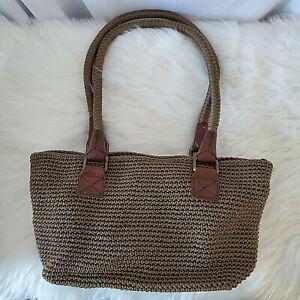 The Sak Purse Brown Purse Crochet Knit Shoulder Bag Handbag Zipper Tote