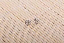 Shiny Solid 925 Sterling Silver Cute 4 Love Heart Leaf Clover Stud Earrings Gift