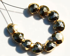 Golden Pyrite Faceted Heart Briolette Gemstone Beads 4mm.