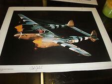 Lockheed P-38 Lightning signed by Robert Goebel  Fighter Ace , WW2 Pilot