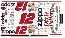 #12 Jimmy Spencer Zippo Chevy 1/64th HO Scale Slot Car Decals