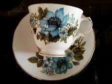 Bone China 6 x 'Queen Anne'  Cups and Saucers Blue Floral Pattern