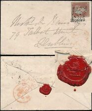 IRELAND 1858 PENNY RED IMPERF 29 NUMERAL + BALLINA in RED + SEAL