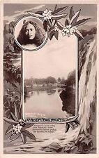 New Zealand postcard Victoria St. Bridge Christchurch Merry Christmas1951