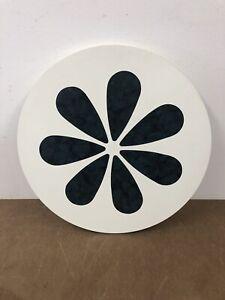 Vintage TABLE TOP mid century modern wood flower round retro 60s white blue side