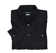 Dolce & GABBANA SICILIA men black cotton shirt Regular Uomo Casual Camicia-Nero