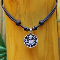 Lederkette Talisman Glückssymbol Glücks Amulett Halskette Herren Damen Kette