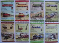 1987 GRENADINES Set #8 Train Locomotive Railway Stamps (Leaders of the World)