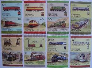 1987 GRENADINES Set #8 Train Locomotive Railway Stamps (Leaders of the World)