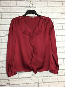 Planet Red Satin Style Ruffle Blouse Gold Buttons Size 8 Women military shoulder