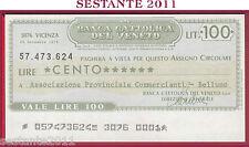 BANCA CATTOLICA DEL VENETO Lire 100 20.11. 1976 ASSOC. COMMERCIANTI BELLUNO B89