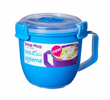 Sistema Sky Blue Klip It Microwave Soup To Go Mug 565ml Clip Lid Lunch Work New