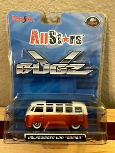 Maisto VW Volkswagen Van Samba All Stars V Bugz Orange And White 1:64