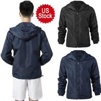 USA Men's Windproof Zipper Windbreaker Jacket Lightweight Hoodie Jacket Outwears