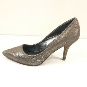 DKNY Francesca Taupe Metallic Faux Suede Heel Pump Shoe, Size 8.5