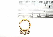 Gold Titanium Triple Gem Crystal CZ Seamless Hoop 16 gauge 16g 8 mm diameter