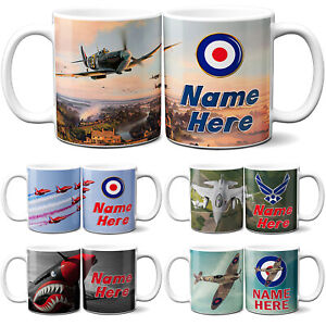 Personalised Plane Mug Fighter Cup Spitfire Fathers Day Custom Text RAF Gift