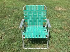 Vintage Lawn Chair Folding Wrapped Aluminum Green Lightweight