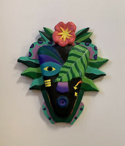 Mask Abstract Face Carved Wood Bas-Relief Art Plaque Indonesia Floral Garden