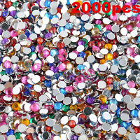 2000pcs 3mm Nail Art Tips DIY Decoration 3D Acrylic Gems Crystal Rhinestones